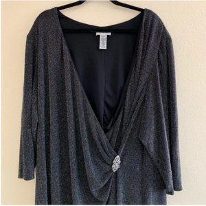 3/$30 Catherines metallic silver faux wrap dress